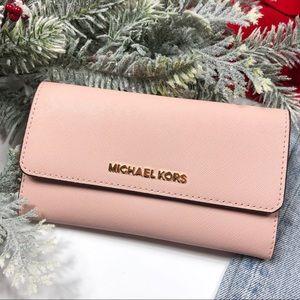 Michael Kors jet set large trifold wallet pink